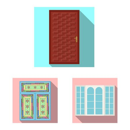 bitmap illustration of door and front icon. Collection of door and wooden bitmap icon for stock.