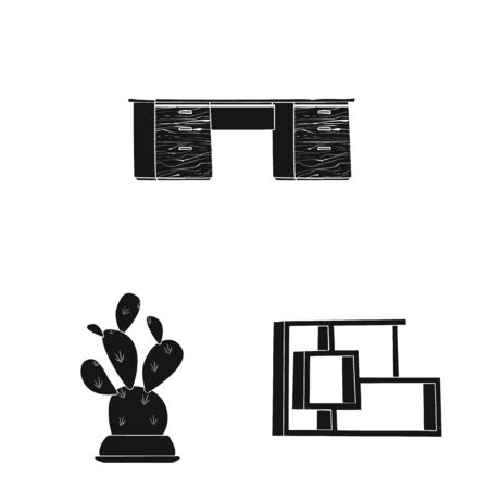 Isolated object of furniture and work icon. Collection of furniture and home bitmap icon for stock.