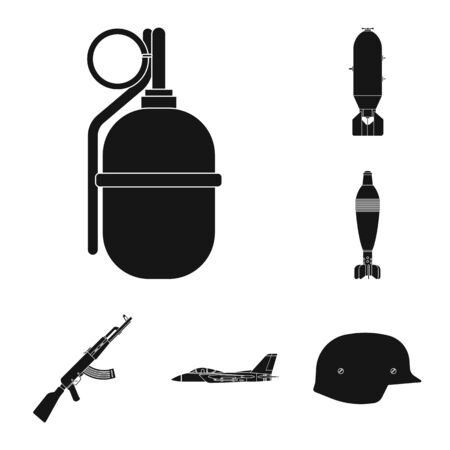 Isolated object of weapon and gun symbol. Set of weapon and army stock symbol for web.