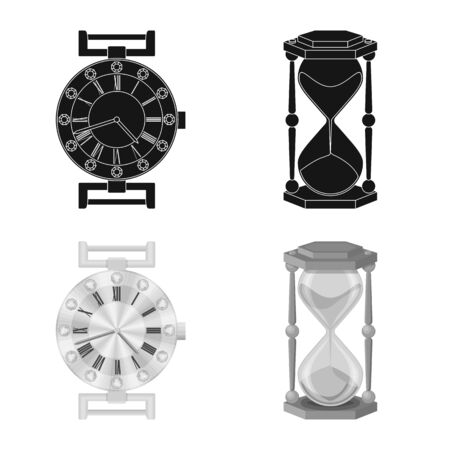 bitmap design of clock and time icon. Collection of clock and circle stock symbol for web.