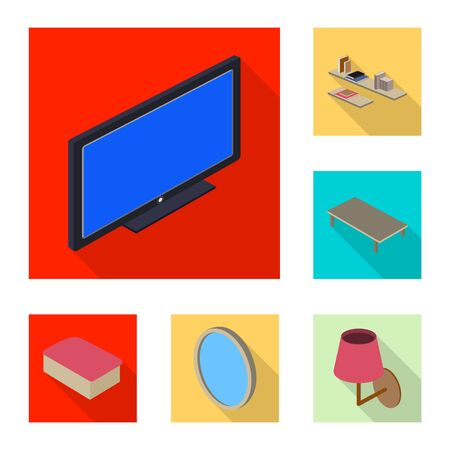 Isolated object of bedroom and room symbol. Collection of bedroom and furniture stock bitmap illustration.