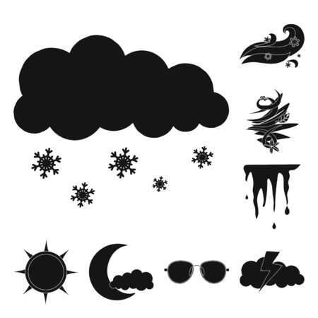 Isolated object of weather and climate icon. Set of weather and cloud bitmap icon for stock.