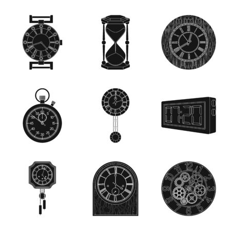 bitmap illustration of clock and time icon. Set of clock and circle stock bitmap illustration.