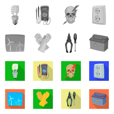 Isolated object of electricity and electric. Set of electricity and energy bitmap icon for stock.