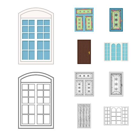 bitmap illustration of door and front icon. Collection of door and wooden stock bitmap illustration. 写真素材