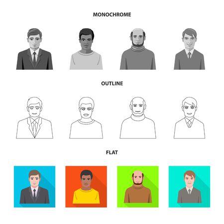 bitmap illustration of hairstyle and profession icon. Collection of hairstyle and character stock bitmap illustration. Reklamní fotografie