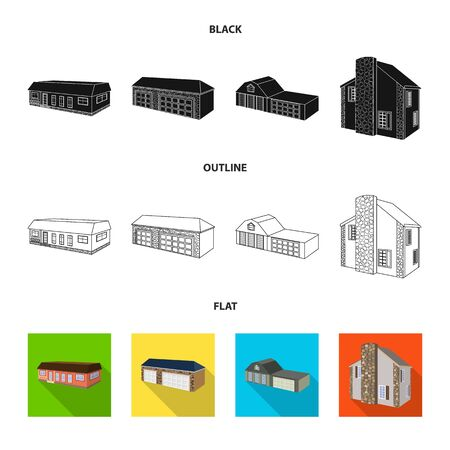 bitmap design of facade and housing . Collection of facade and infrastructure stock bitmap illustration.