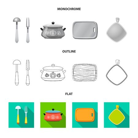 Isolated object of kitchen and cook icon. Collection of kitchen and appliance stock bitmap illustration. Stock Photo