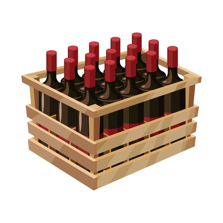 Isolated object of wine and box . Collection of wine and wooden stock bitmap illustration.