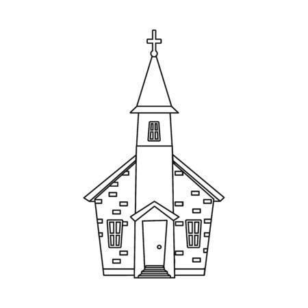 Isolated object of church and orthodox symbol. Collection of church and pray stock bitmap illustration.