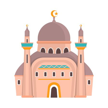 bitmap illustration of mosque and church symbol. Collection of mosque and muslim stock symbol for web. Archivio Fotografico - 128475408