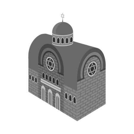 Isolated object of synagogue and church icon. Collection of synagogue and judaism stock bitmap illustration. Archivio Fotografico - 128475446