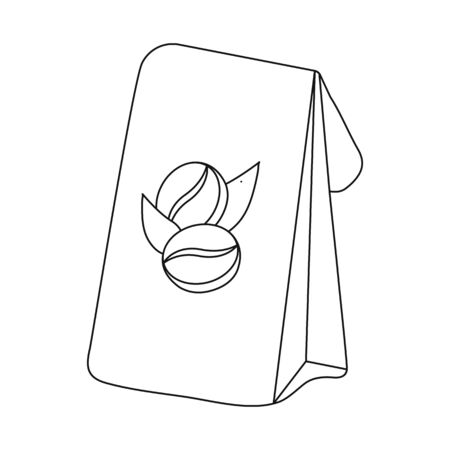 Isolated object of coffee and package symbol. Set of coffee and pack stock bitmap illustration.