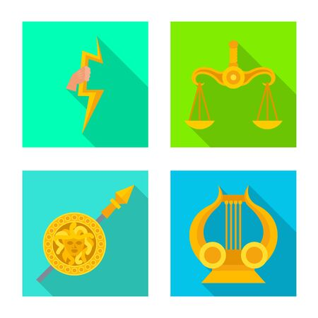 Vector design of deity and antique icon. Set of deity and myths stock vector illustration.