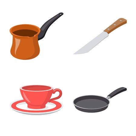 Isolated object of kitchen and cook  . Collection of kitchen and appliance stock symbol for web.