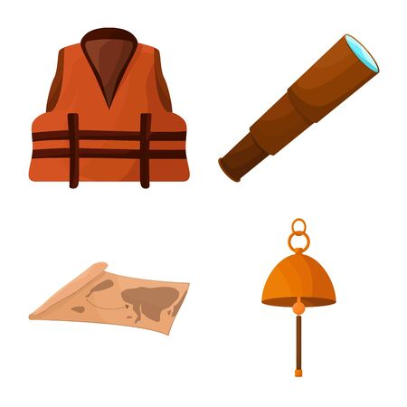 Vector illustration of adventure and sea logo. Collection of adventure and travel stock symbol for web.