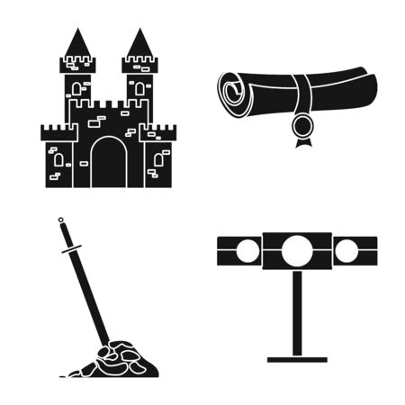 Isolated object of traditional and renaissance symbol. Set of traditional and history vector icon for stock. Ilustração