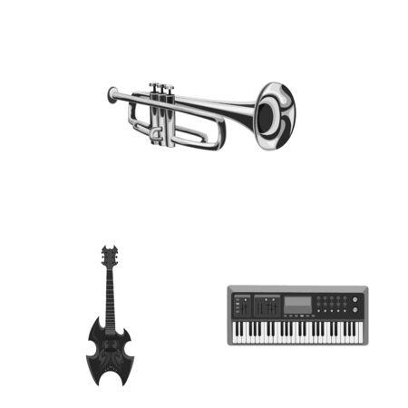 Vektordesign von Musik und Melodie. Sammlung von Musik- und Werkzeugvorrat-Vektorillustration.