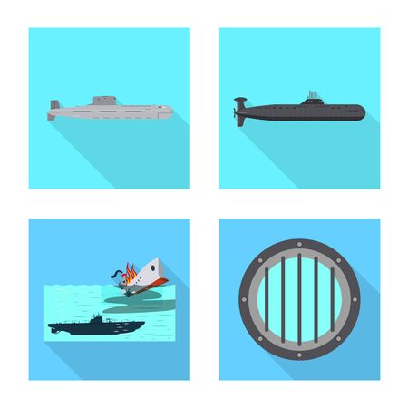 Vector illustration of military and nuclear icon. Collection of military and ship vector icon for stock. Иллюстрация