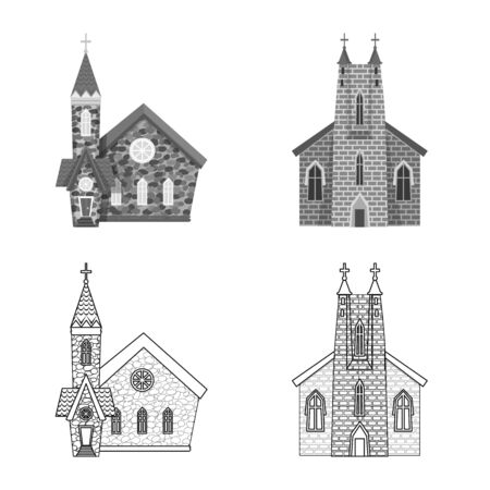 Isolated object of cult and temple  . Collection of cult and parish stock vector illustration.