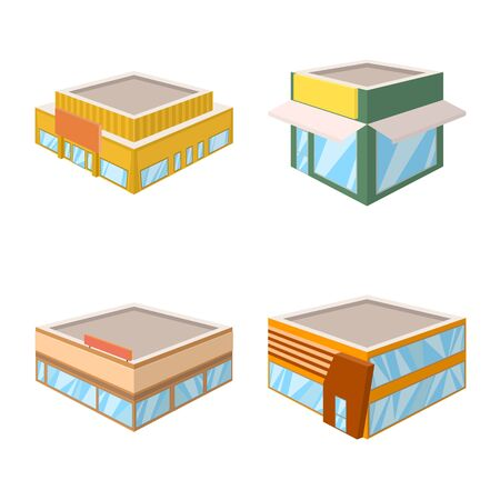 Vector design of and building icon. Collection of and business vector icon for stock.