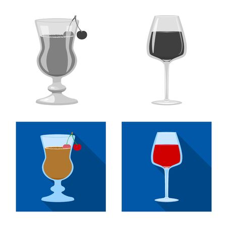 Vector illustration of liquor and restaurant. Set of liquor and ingredient vector icon for stock.
