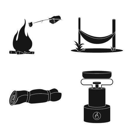 Isolated object of relaxation and rest icon. Collection of relaxation and adventure stock vector illustration.