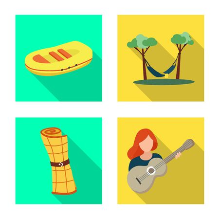 Isolated object of trekking and wildlife icon. Collection of trekking and leisure vector icon for stock. Ilustrace