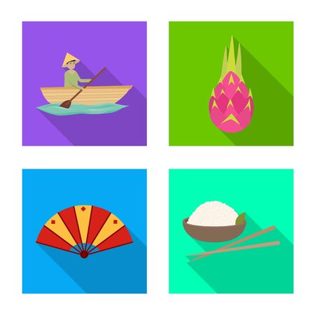 Vector illustration of country and asia icon. Set of country and oriental stock vector illustration.