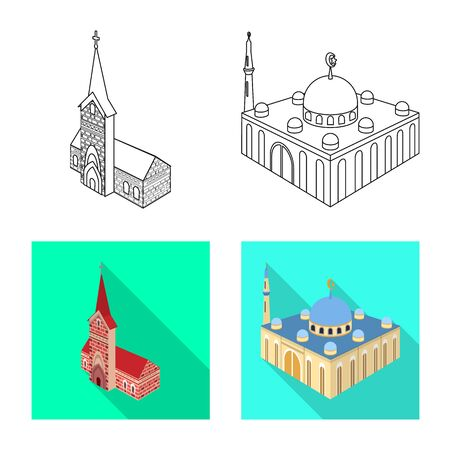 Vector illustration of temple and historic sign. Set of temple and faith vector icon for stock.