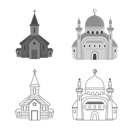 Vector illustration of cult and temple sign. Set of cult and parish stock vector illustration. Illusztráció