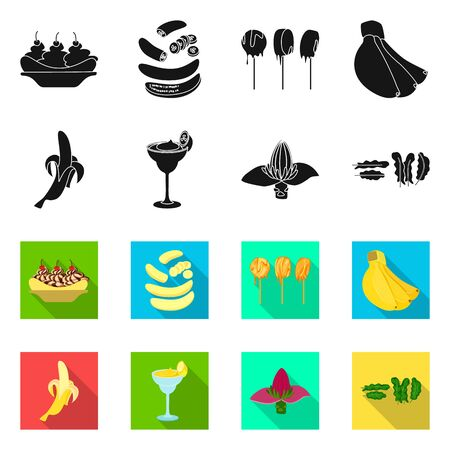 Vector design of natural and vegetarian symbol. Set of natural and eating vector icon for stock.