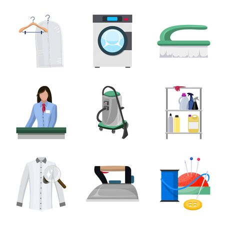 Isolated object of laundry and clean sign. Set of laundry and clothes stock vector illustration. 矢量图像