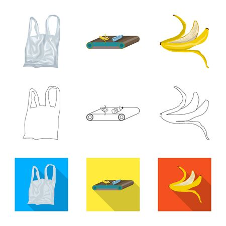 Vector design of refuse and junk icon. Collection of refuse and waste vector icon for stock.