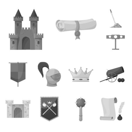 Isolated object of heritage and ancient icon. Collection of heritage and culture stock vector illustration.