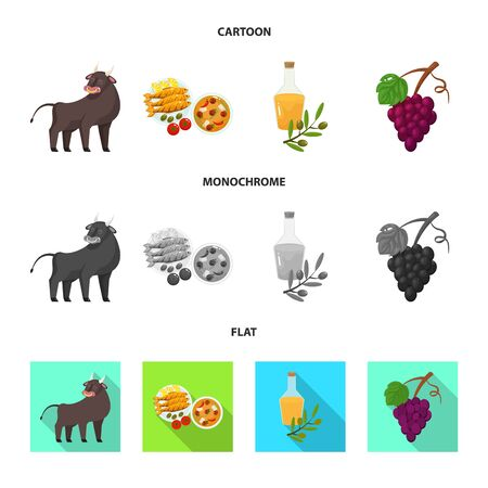 Isolated object of and historic icon. Set of and country stock vector illustration. Illustration