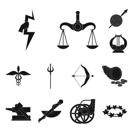 Vector design of religion and myths icon. Collection of religion and greek vector icon for stock. Stock Vector - 128476487