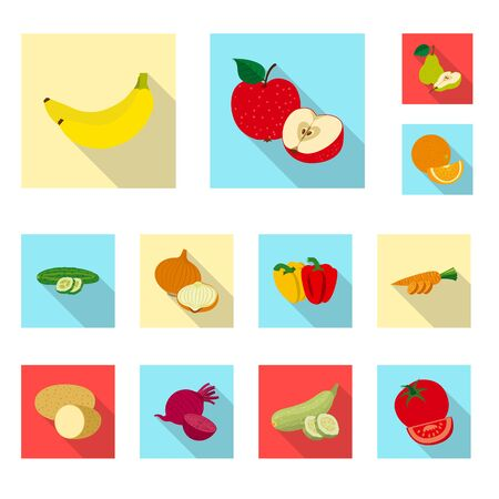 Vector design of vegetable and fruit  . Set of vegetable and vegetarian stock symbol for web.