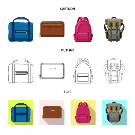 Vector design of suitcase and baggage icon. Set of suitcase and journey vector icon for stock.