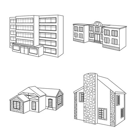Isolated object of city and construction symbol. Set of city and estate vector icon for stock.
