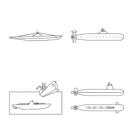 Vector illustration of boat and navy icon. Collection of boat and deep vector icon for stock. 일러스트