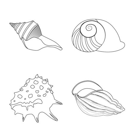 Vector illustration of exotic and seafood icon. Collection of exotic and aquatic vector icon for stock. Ilustração