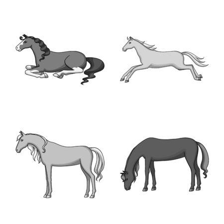 Vector illustration of farm and riding  . Collection of farm and equestrian stock vector illustration. Ilustração