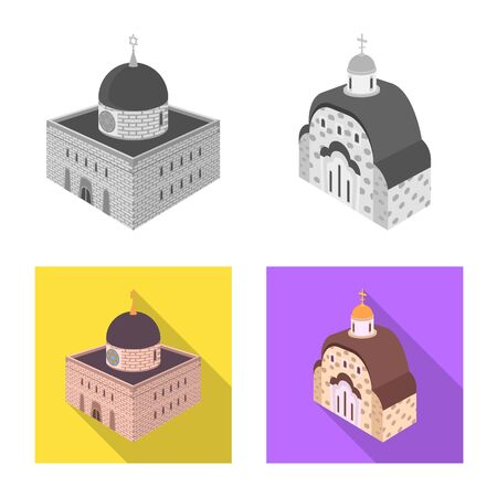 Isolated object of temple and historic icon. Set of temple and faith vector icon for stock.