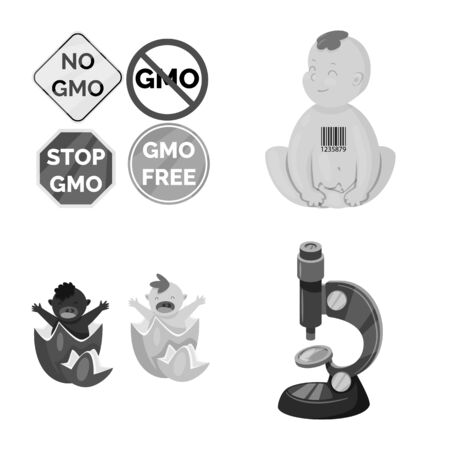 Vector illustration of transgenic and organic symbol. Collection of transgenic and synthetic stock symbol for web. Illustration