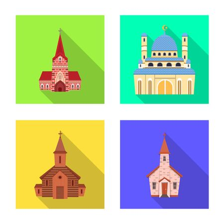 Isolated object of cult and temple . Set of cult and parish vector icon for stock.