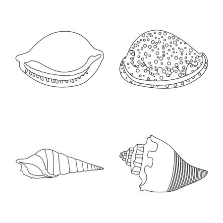 Vector design of exotic and seafood  . Set of exotic and aquatic vector icon for stock.