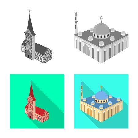 Isolated object of temple and historic  . Set of temple and faith stock vector illustration. Illusztráció
