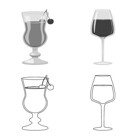 Vector illustration of liquor and restaurant . Set of liquor and ingredient vector icon for stock.
