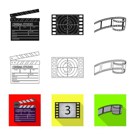 Vector illustration of television and filming symbol. Set of television and viewing stock symbol for web.